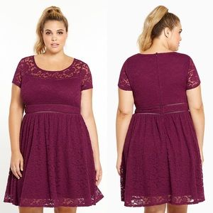 Torrid dark Purple LACE SCOOP SKATER DRESS